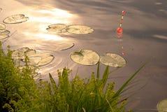 заход солнца рыболовства Стоковое фото RF