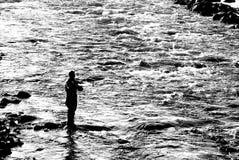 заход солнца рыболовства Стоковое Фото