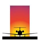 заход солнца самолета Стоковые Изображения