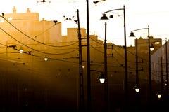 заход солнца светильников Стоковое Изображение RF