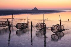 заход солнца святой mont michel залива Стоковые Изображения RF