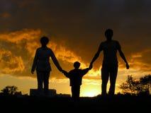 заход солнца семьи Стоковая Фотография RF