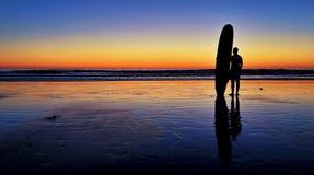 Заход солнца серфера Стоковая Фотография RF