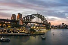 заход солнца Сидней гавани моста Стоковые Фото