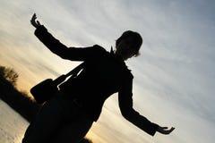 заход солнца силуэта воодушевленности Стоковые Изображения RF