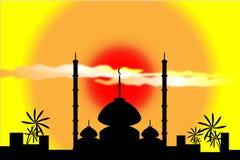 заход солнца силуэта мечети Стоковые Изображения