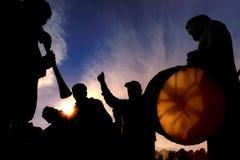 заход солнца силуэта нот Стоковое фото RF