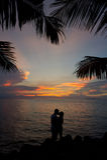 заход солнца силуэта пар целуя романтичный Стоковые Фотографии RF