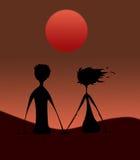 заход солнца силуэта пар Стоковые Фото