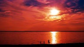 заход солнца силуэта пляжа Стоковая Фотография RF