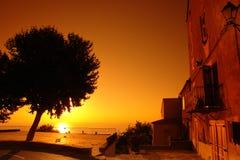 заход солнца Средиземного моря Стоковая Фотография