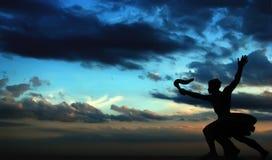 заход солнца статуи Стоковое Изображение RF