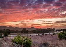 Заход солнца страны холма Техаса Стоковое фото RF
