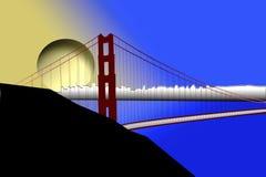 заход солнца строба моста золотистый излишек Стоковые Изображения