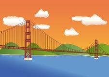 заход солнца строба моста золотистый Иллюстрация вектора