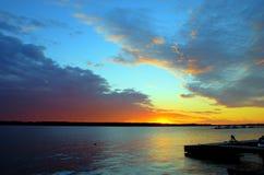 заход солнца стыковки стоковое изображение