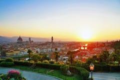 Заход солнца с взглядом Флоренс Стоковые Фотографии RF