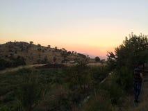 Заход солнца с природой стоковые фото