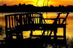 Заход солнца с силуэтом Стоковые Фотографии RF