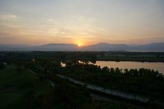 Заход солнца с темнотой Стоковые Фотографии RF