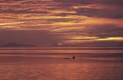 заход солнца Таити Французской Полинезии стоковое фото