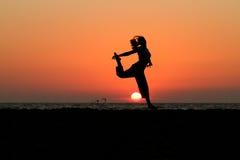 заход солнца танцора Стоковые Фото