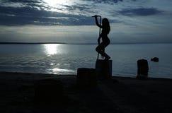 заход солнца танцульки Стоковая Фотография