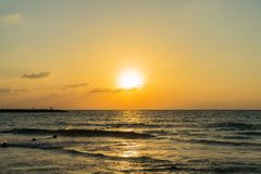 Заход солнца Тель-Авив Стоковое Изображение RF
