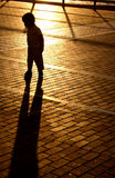 заход солнца тени мальчика стоковые фото