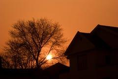 заход солнца тени Стоковые Фотографии RF