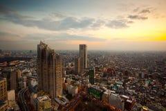 Заход солнца Токио Стоковые Фото