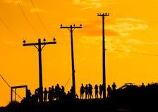 заход солнца толпы Стоковые Изображения RF