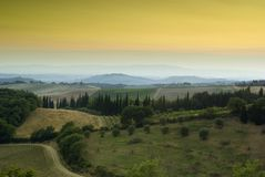 заход солнца Тоскана chianti Стоковая Фотография RF