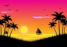 заход солнца тропический Стоковые Изображения RF