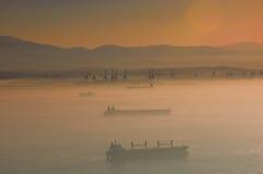 заход солнца тумана Стоковая Фотография RF