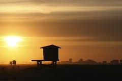 заход солнца уплотнения пляжа Стоковая Фотография