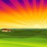 заход солнца фермы Стоковые Изображения