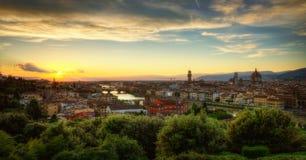 Заход солнца Флоренса Стоковые Фото
