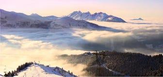 заход солнца Франции alps Стоковое Изображение RF