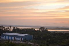 Заход солнца Хайдарабад, Индия стоковое изображение rf