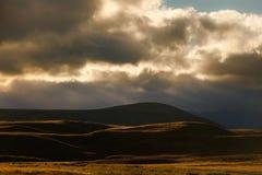 заход солнца холмов Стоковая Фотография RF