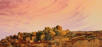 заход солнца холмов Стоковые Фотографии RF