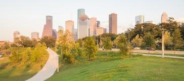 Заход солнца Хьюстона городской от Элеаноры Стоковое Изображение