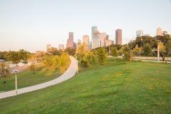 Заход солнца Хьюстона городской от Элеаноры Стоковые Изображения RF