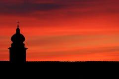 заход солнца церков стоковые изображения rf