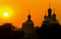 заход солнца церков Стоковая Фотография RF
