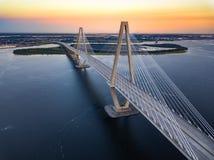 Заход солнца Чарлстона с мостом Стоковое Фото