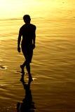 заход солнца человека Стоковая Фотография RF