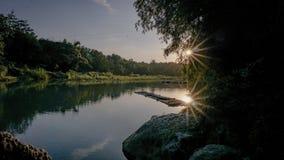 Заход солнца через древесины Стоковые Изображения RF