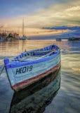 Заход солнца Чёрное море Болгария гавани Nesebar стоковое фото rf